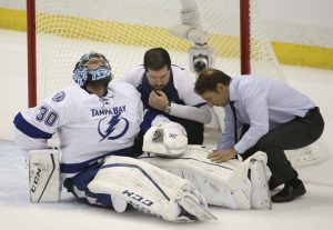 Ben Bishop injury in 2015 Stanley Cup Final