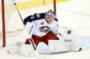 Sergei Bobrovsky making a glove save