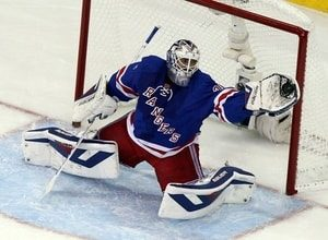Henrik Lundqvist tracking the puck deep