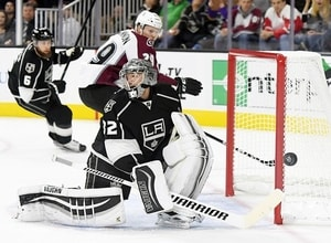 Jonathan Quick making an aggressive play