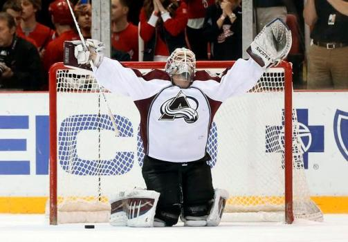 Calvin Pickard celebration