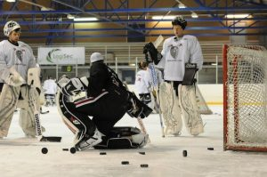 Goalie Coach teaching a goalie drill