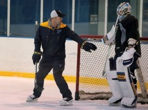 Martin Brodeur coaching Jake Allen