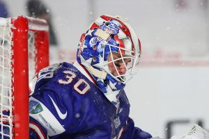 Jake Oettinger in 2018 WJC preliminary round outdoor game vs. Canada