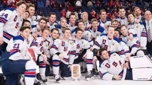 United States winning bronze at the 2018 WJC