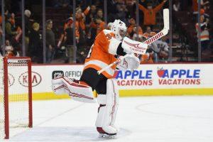 Flyers goalie Petr Mrazek shortly after trade from Detroit