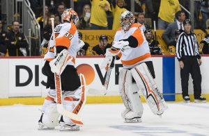 Flyers goalies Elliott and Mrazek