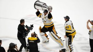 Matt Murray hoisting Stanley Cup, after defeating Nashville Predators in 2017