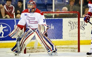 Connor Hellebuyck with U. Mass-Lowell of Hockey East
