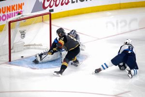 Connor Hellebuyck allowing breakaway goal against Vegas forward Jonathan Marchessault