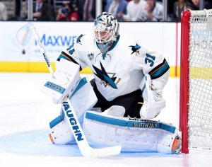 Martin Jones tracking the puck