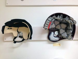 Comparison between standard hockey helmet and standard football helmet