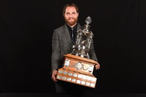 Holtby with the Vezina Trophy at the 2016 NHL Awards