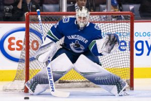 Jacob Markstrom taking shots during warmups before a game against the Calgary Flames