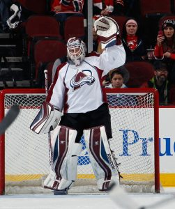 Former NHL goaltender J.S. Giguere sporting the reduced leg pads in the 2013-14 NHL season
