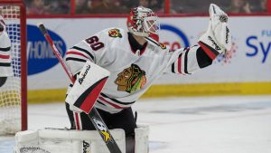 24-year old Collin Delia, goaltender for the Chicago Blackhawks