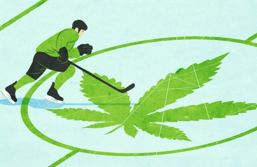 Hockey player skating over cannabis plant at center ice