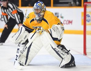 Nashville Predators goaltender Juuse Saros keeping his stick positioned well flat against the ice
