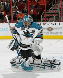 Former NHL goaltender Evgeni Nabokov demonstrates proper chest positioning