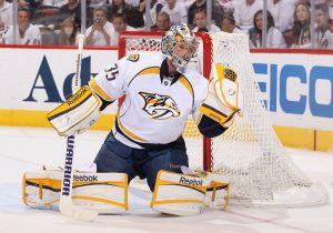 Nashville Predators goaltender Pekka Rinne keeping his stick in good position while in butterfly