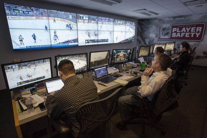 NHL Department of Player Safety video room
