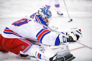 Alexander Georgiev stretching out during pregame warmups