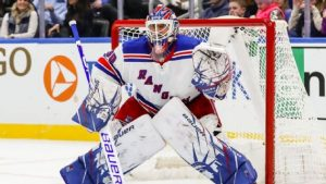 Henrik Lundqvist sporting his New York-themed pads in a game this season